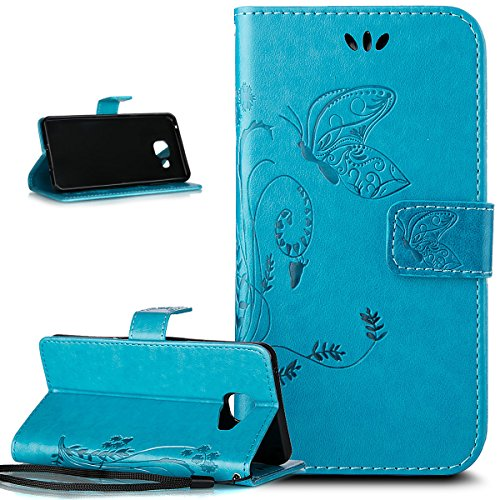 Galaxy A32106custodia, Ikasus goffratura farfalla PU fold portafoglio in pelle Premium Flip Cover in ecopelle carta di credito ID titolari case per Samsung Galaxy A3(2016) sm-a310F