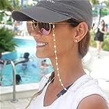 Cathercing - Catenina per occhiali da donna, con perline di vetro, per occhiali da lettura, cinturino per occhiali, cordino, per donne e anziane, catena antiscivolo