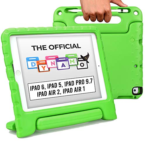 Cooper Dynamo [Rugged Kids Case] Protective Case for iPad 6th, 5th Gen/iPad Pro 9.7 / iPad Air 2, 1 | Child Proof Cover, Stand, Handle, Protector (Green)