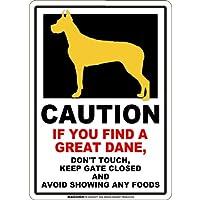 CAUTION IF YOU FIND マグネットサイン:グレートデーン/立ち耳(スモール)ホワイト 注意 DON'T TOUCH 触れない/触らない KEEP GATE CLOSED ドアを閉める 英語 防犯 アメリカンマグネットステッカー