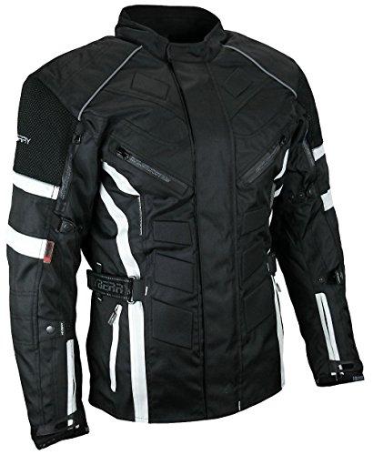 HEYBERRY Herren Touren Motorradjacke Textil schwarz weiß Gr. L