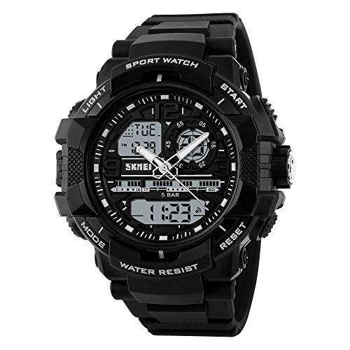 SKMEI Sports Water Resistance Analog-Digital White Dial Men's Watch with Alarm, Light-1164 Black