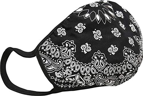 Mundmaske aus Stoff mit Motiv, wiederverwendbare Baumwollmaske Bandana Face Mask, Schwarz, 2er Pack
