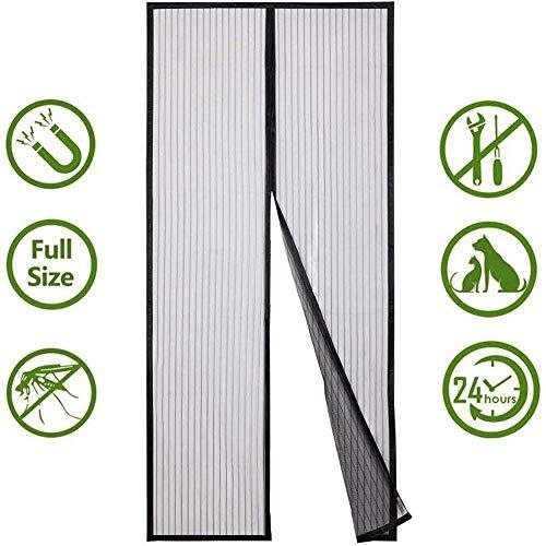 DSNICK-CP Imán Mosquitera Puerta Cifrado magnético Mudo Cortinas Anti-Mosquitos Perforadas para balcón Cocina Dormitorio,Negro,135x205cm(53x80inch)