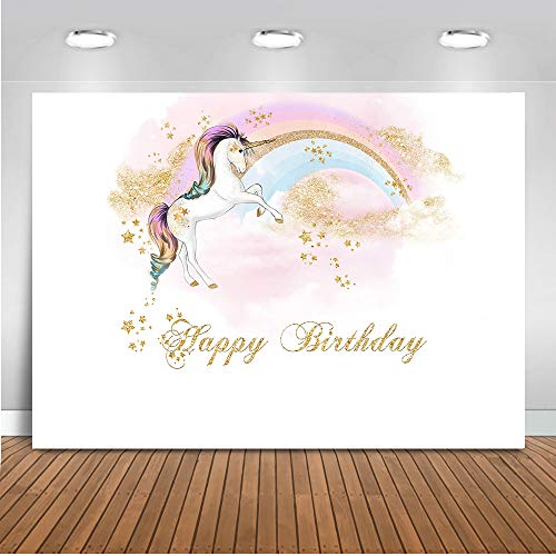 Mocsicka Unicorn Backdrop Flying Rainbow Unicorn Happy Birthday Photo Backdrops 7x5ft Newborn Baby Shower Birthday Party Decoration Banner Photography Background