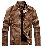 chouyatou Men's Vintage Stand Collar Pu Leather Jacket (X-Large, RZQM888-Brown)
