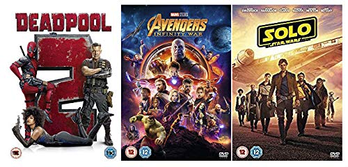 Deadpool 2, Avengers Infinity War, Solo: A Star Wars Story DVD Collection