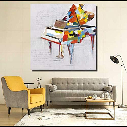 WSNDGWS Piano Pintado Pintado a Mano Obra Moderna Estirada y enmarcada Pinturas al óleo abstractas sobre Lienzo Arte de Pared