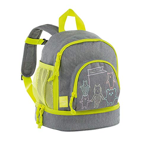 LÄSSIG Kinderrucksack Kindergartentasche mit Brustgurt/Mini Backpack About Friends grey mélange