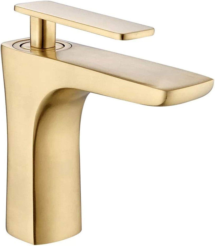 WWFF Nordic Modern Gebürstetes Goldkupfer Einfache Light Luxury Hot and Cold Waschbecken Messing Wasserhahn Durable (Größe   Short)