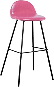 ZHJBD Furniture Stool High Stools Chair Wooden for Kitchen Office European Wrought Iron High Stool Bar Bench Bar Chair Bar Chair Kitchen High Stool Use 105-115cm Table Four Colors  Color Pink