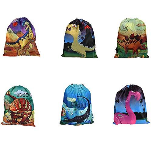 6 Piezas Dinosaur Drawstring Pocket,Bolsa de Dinosaurios Fiesta de Cumpleaños Mochilas Dinosaurio, Mochila de Cuerdas Birthday Dino,Adecuado para Fiestas Temáticas Infantiles, Bolsas de Gimnasia