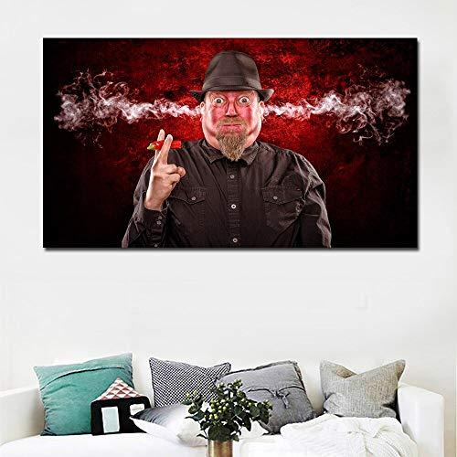 Suhang Hd-prints mannen eet peper oor roken abstracte kunst portretschilderij canvas gedrukt muurkunst print poster voor woonkamer decoratie 70x125CM NO FRAME ongeframed.