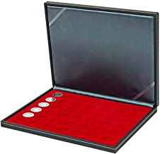 Lindner 2364-2107E Coin case NERA M with light red insert with 42 round compartments for coins with Ø 27,5 mm, e.g. for german 5 EURO coins GERMANY GERMANY.