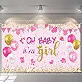 Oh Baby It's A Girl Baby Shower Party Decorations Large Size Pink Baby Shower Birthday Banner Backdrop Photo Booth Background for Girl's Baby Shower Party Supplies (Pink Girl)