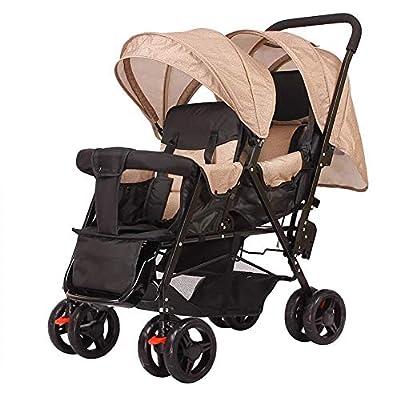 Qinmo Doble carretilla infantil, gemelo del bebé cochecito ligero plegable doble biplaza carro de bebé, arnés de cinco puntos, limpieza extraíble (Color : B)