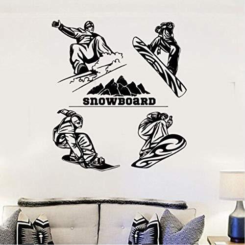 Wuyii snowboard muursticker winter sport Estremi muursticker vinyl muurschildering muur decoratie voor het huis snowboard murale spellen 57 x 64 cm