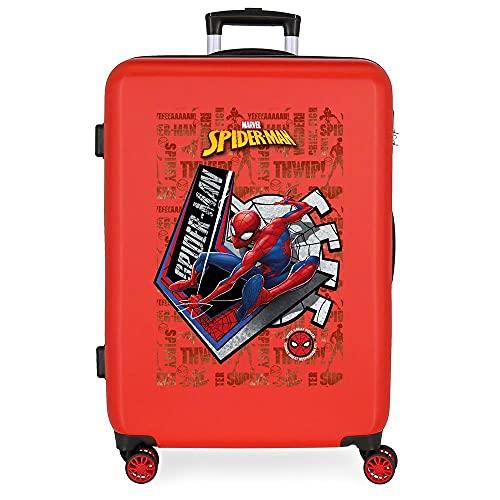 Marvel Spiderman Great Power Maleta Mediana Rojo 48x68x26 cms Rígida ABS Cierre de combinación Lateral 70 3 kgs 4 Ruedas Dobles