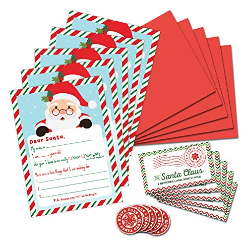 PINK PIXIE STUDIO Letter to Santa Christmas Wish List Writing Kit- Pack of 5- Fill in The Blank 5 x 7 Cards with Red Envelopes & Stickers- Holiday Family Tradition- Christmas Nice & Naughty List Elf