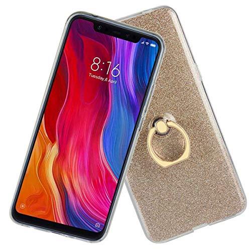 Ycloud Suave TPU Silicona Funda para Xiaomi Mi 8 Pro Smartphone, Moda Sparkly Brillante Carcasa con Soporte de Anillo Ligera Delgado Back-Cover (Dorado)