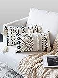 LOMOHOO Fundas de Almohada de Tiro Boho Funda de Almohada Decorativa Rectangular Lumbar de 12X20 Pulgadas en Blanco y Negro para sofá sofá Dormitorio Sala de Estar(1pc)