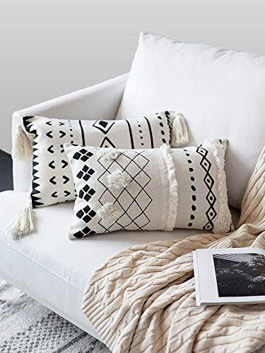 LOMOHOO Fundas de Almohada de Tiro Boho Funda de Almohada Decorativa Rectangular Lumbar de 12X20 Pulgadas en Blanco y Negro para sofá sofá Dormitorio Sala de Estar (Lumbar 30 * 50)