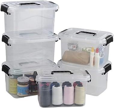 Ucake Clear Plastic Storage Bin, Black Lid and Handle, Pack of 6