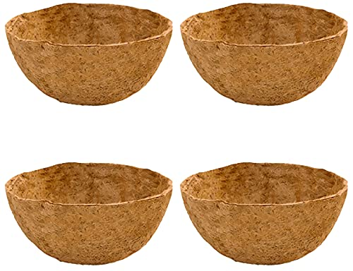 Greyoe Forros de Coco, Forro Redondo de Fibra, 4 Piezas de Revestimiento de Cacao de Palma de Coco Natural para Jardín, Planta, Interior y Exterior