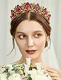 Coucoland Braut Tiara Hochzeit Krone Vintage Stil Luxus Prinzessin Königin Diadem Kristall Geburtstag Krone Damen Kostüm Accessoires (Gold Rot)