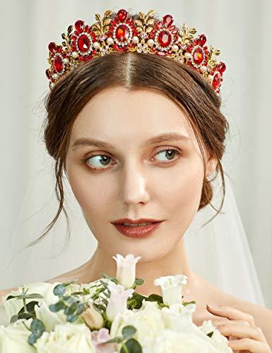 Coucoland Tiara de novia de princesa, corona de reina para disfraz, accesorio para fiesta de cumpleaños, Halloween o carnaval dorado y rojo Talla única