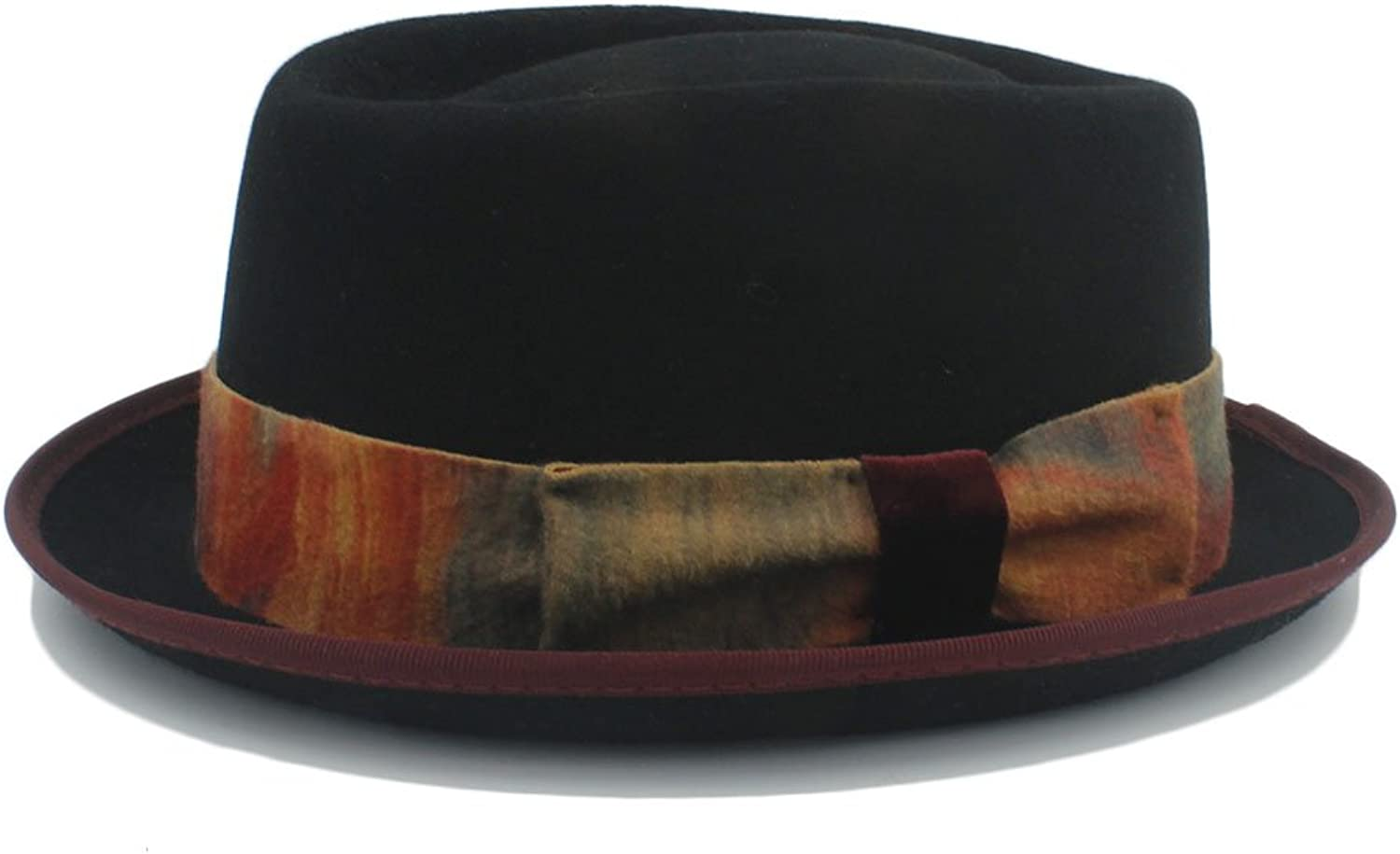 Fashion Fashion Good looking Pork Pie Black Wool Vintage Denim Hat With Dyeing tape Creative