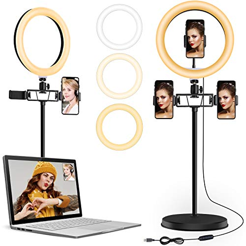"""10.2"""" Ring Light with Stand for Laptop, Multifunctional Toilet Paper Holder, 3 Phone Holder Circle Light with Dimmable for /TIK Tok/Live Streaming/Makeup/YouTube"""