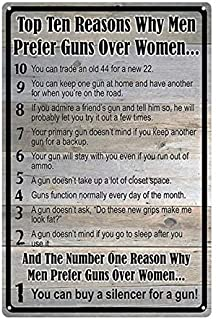 Fokllea top Ten Reasons why Men Prefer Guns Over Women Sign,12x8 Inches Vintage Feel Metal Tin Sign Plaque for Home,Bathroom and Bar Wall Decor8X12Inch