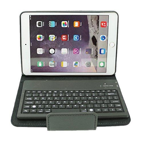 dizauL Copertura di cuoio dell'unit¨¤ di elaborazione con la tastiera in silicone rimovibile senza fili Bluetooth per iPad mini serie, Nero, US Version