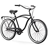 sixthreezero Around The Block Men's 3-Speed Beach Cruiser Bicycle, 26' Wheels, Matte Black with Black Seat and Grips