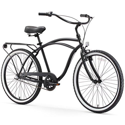 "sixthreezero Around The Block Men's 3-Speed Beach Cruiser Bicycle, 26"" Wheels, Matte Black with Black Seat and Grips"