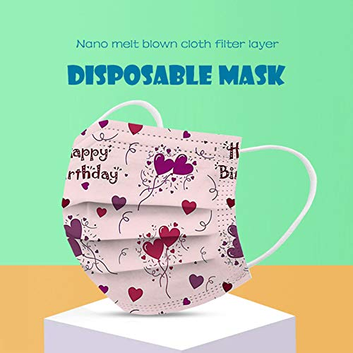 CawBing Disposablē_Face_Masks Birthday Gifts for Her Him 50PCS Happy Birthday Printed Decorations Balaclava 3-ply Comfort Breathable Face_Coverings with Elastic Earloop Protection Bandana