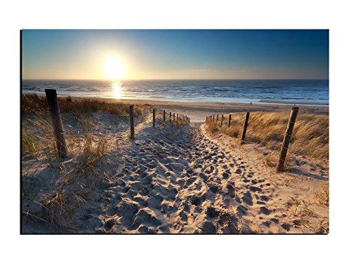 WallartXXL Alu-Dibond Bild Weg zum Sandstrand an der Ostsee mit Sonne ALB00641 Butlerfinish® 150 x 100 cm, Wandbild Edel gebürstete Aluminium-Verbundplatte, Metall Effekt Eyecatcher!