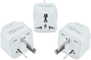 Opaqu Travel Adapter, UK to AUS Adapter, Dual Socket Insulated Pins 3-Pin Plug International Adapter, Pack of 3-White