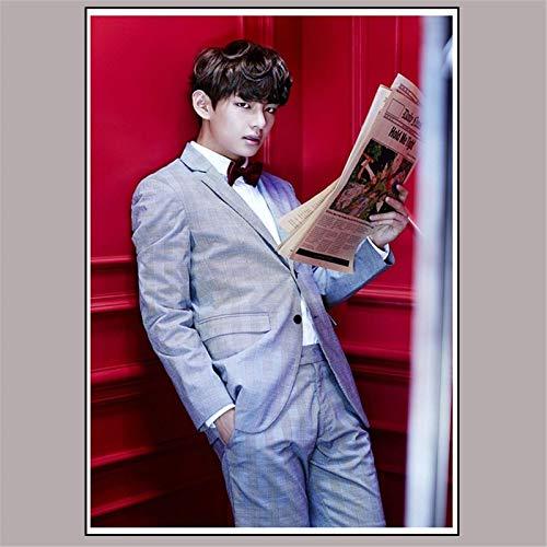 ZXXGA Kit De Pintura con Diamantes 5D,Pop Coreano BTS V-Kim Tae Hyung Bordado de Diamante 5D de Punto de Cruz para Adultos para decoración de la Pared del hogar 50x70cm