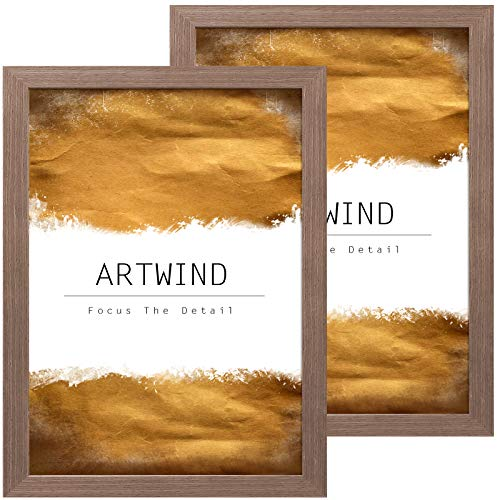 ARTWIND 12x18 Poster Frame 2 Pack Wood Farmhouse Style,Wall Mounting,Poster Frames with Plexiglass Front,Brown