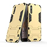 CHcase Huawei P20 Hülle, Huawei P20 Hülle, Hybrid 2in1 TPU+PC Schutzhülle Rugged Armor Hülle Cover Dual Layer Bumper Backcover mit Ständer für Huawei P20 -Gold