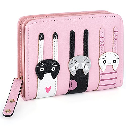UTO Cute Cat borsa del Portafoglio Bifold in Pelle sintetica per Ragazza Porta carte carino gatto Piccola borsa Rosa