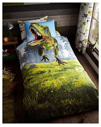 FAIRWAYUK Boys Single Duvet Cover Set, Reversible Quilt, Kids Bedding Set with Pillow Case, Poly-Cotton, Easy Care (Dino)