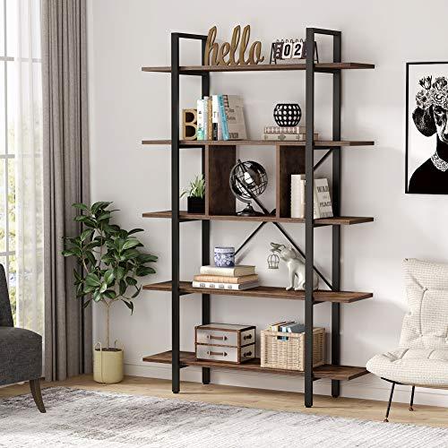 Tribesigns Estantería Industrial 5 Capas Librería para Salón Oficina, Vintage y Negro Librería,105x29.5x180cm (Marrón)