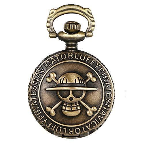 Reloj de bolsillo JewelryWe, de bronce envejecido, en diseño de calavera y con cadena de 80 cm, Regalo Navidad