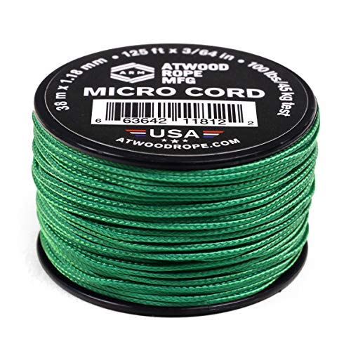 Atwood Rope MFG Tactical Nylon/Polyester Micro Utility Cord 1.18mm X 125ft Reusable Spool | Fishing Gear, Jewelry Making, Camping Accessories (Green)