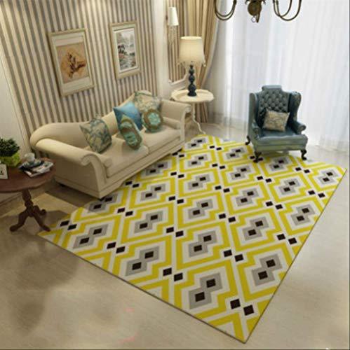 JUNYYANG Manta de área de Soft Mat Cubierta Simple geométrico Moderno Alfombra Alfombra Sala de Estar Mesa de Dormitorio Principal Estudio de alfombras (2 Unidades)
