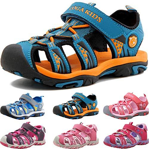 Sandalen Jungen Mädchen Kinder Geschlossene Sportliche Sandalette Kinder Atmungsaktiv Strandschuhe Outdoor Trekkingsandalen Mit Klettverschluss Blau