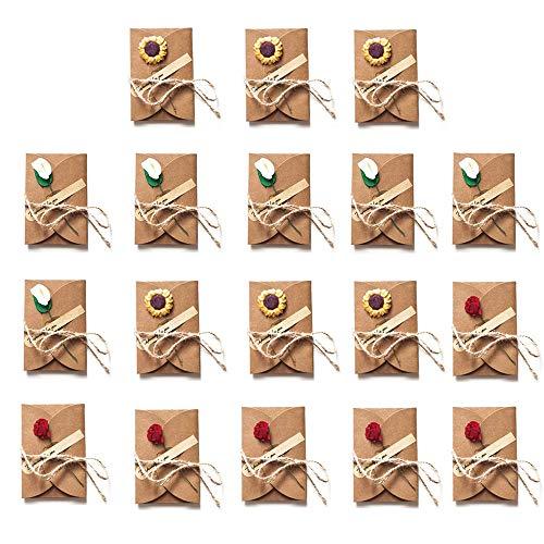 18 Piezas Tarjeta de Regalo de Papel Kraft Retro, Tarjeta de Felicitación Papel Kraft Sobres con Flores Secas, para Bodas de Cumpleaños, Tarjetas de Agradecimiento